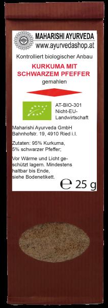 Kurkuma mit schw. Pfeffer gemahlen, Bio, 25 g
